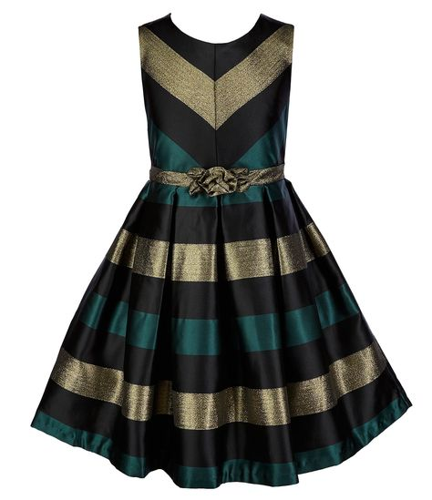 bfff41ef7 Bonnie Jean Little Girls 46X Metallic Stripe Woven FitAndFlare Dress ...