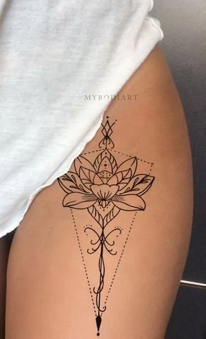 Hinto Black Tribal Bohemian Floral Flower Lotus Linework Temporary Tattoos Tattoos For Women Tattoos Anklet Tattoos