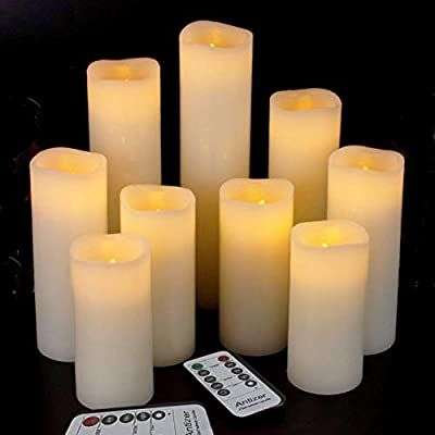 Amazon Com Antizer Flameless Candles Led Candles Pack Of 9 H 4 5 6 7 8 9 X D 2 2 Ivory Real Wax In 2020 Battery Candles Fake Candles Battery Operated Candles