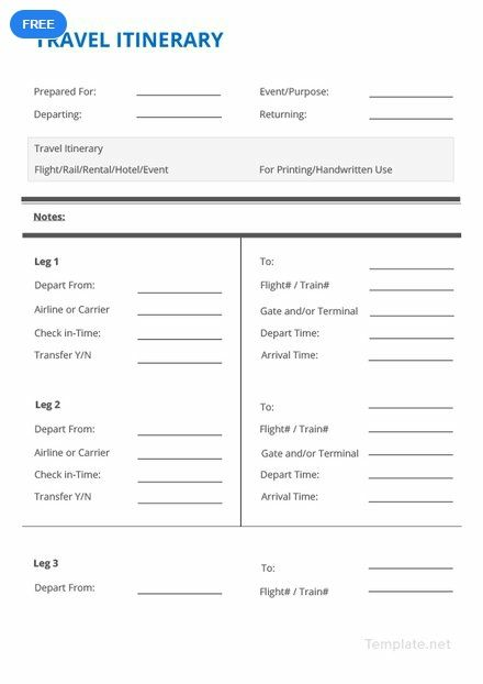 Free Simple Travel Itinerary With Images Travel Itinerary Template