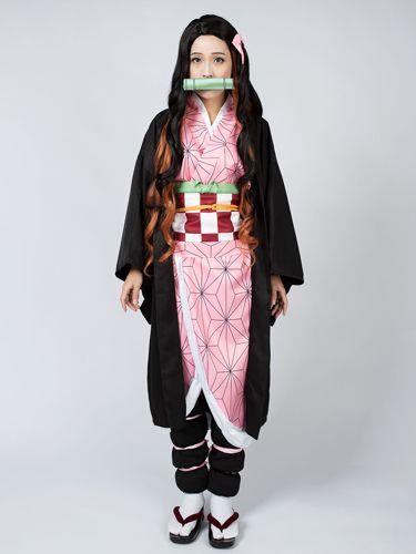 Kamado Tanjiro Kimetsu no Yaiba Cape Kimono Cosplay Costume Details about  /Demon Slayer