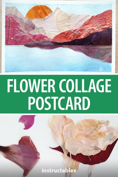 nomadecraftsanddreams made this beautiful landscape postcard out of dried flower petals. #Instructables #papercraft #gift #mail #floral
