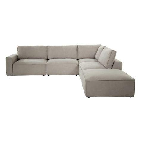 Accoudoir droit de canapé en tissu beige