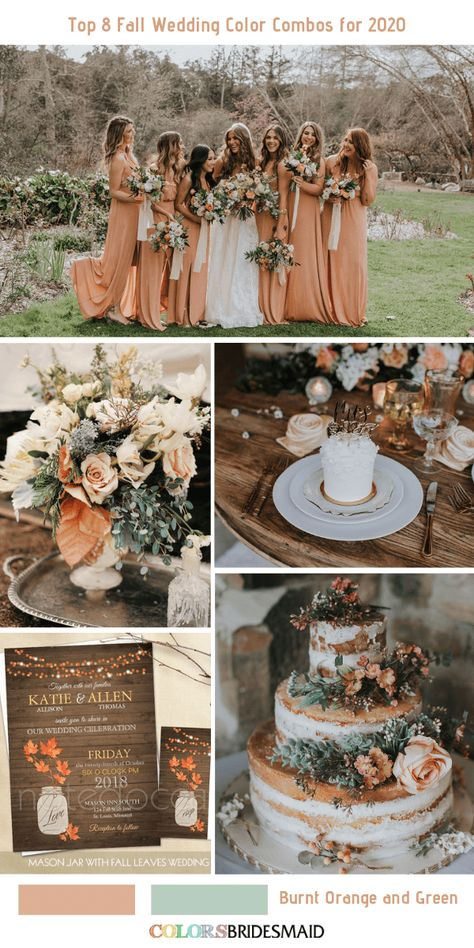 Top 8 Fall Wedding Color Combos for Burnt Orange + Green. wedding gowns Top 8 Fall Wedding Color Combos for 2020 Burnt Orange Bridesmaid Dresses, Burnt Orange Weddings, Country Bridesmaid Dresses, Orange Wedding Colors, Fall Wedding Colors, Fall Wedding Bridesmaids, Coral Weddings, Rustic Wedding Colors, Romantic Weddings