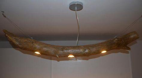 Plafoniere Con Base In Legno : Lampadario da soffitto sospeso con tronco di albero plafoniera