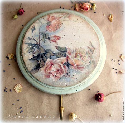 """Купить Панно вешалка  """"Розы и Мята"""" - панно, розы, мята, панно на стену, панно настенное"""