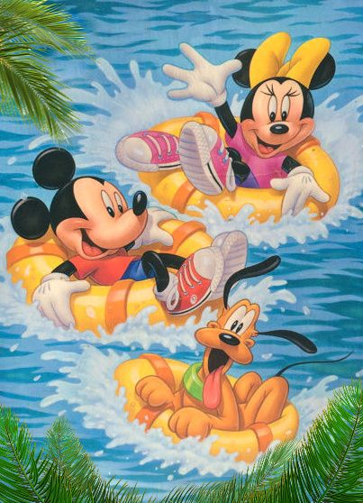 Minnie, Mickey & Pluto going on a river tubing ride