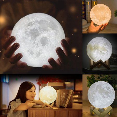Hallolure 6 Large Moon Light 3d Magical Moon Lunar Led Night Light Lamp Usb Charge Touch Sensor Color Changing With Wooden Stand Walmart Com Night Light Lamp Led Night Light Night