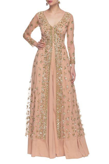 Buy Soft peach & gold sequin embellished palazzo set by Astha Narang at Aza Fashions
