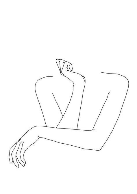 Imprimé giclée - Dessin minimal des bras croisés de la femme - Art figuratif - Noir et blanc ...