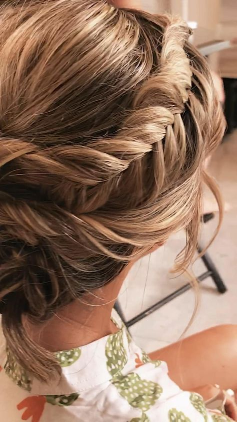 textured fishtail updo hairstyle for a boho bridesmaid.    #hair #hairstyles #hairstyleideas #hairideas #hairinspiration #wedding #weddingideas #weddinghairstyle #weddinghair #bridal #bridesmaids #bridalhair #bridalhairstyle #prom #promhairstyle #promhair #formalhairstyle #boho #bohostyle #bohowedding #bohohairstyle #braids #braidstyles #braidhairstyles #behindthechair #modernsalon  #bohowedding #updo #updohairstyles