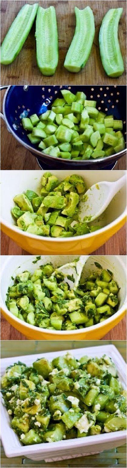 cucumber & avocado salad w/ lime, mint & feta