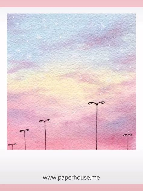 """Pink Sky Watercolor Paintings👉www.paperhouse.me💝Save $3 with code """"PIN3""""💝Paperhouse Stationery"""