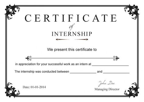 Internship Certificate Templates Free Millennial Internships - sample internship report template