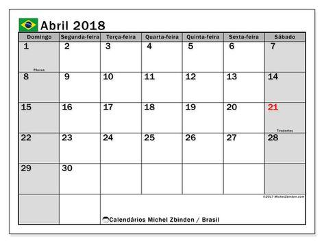 Calendários abril de 2018 - SD