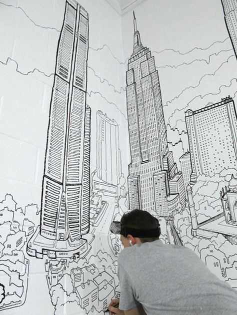 Artistic And Very Creative Kitchen Wall Decor Cityscape Drawing