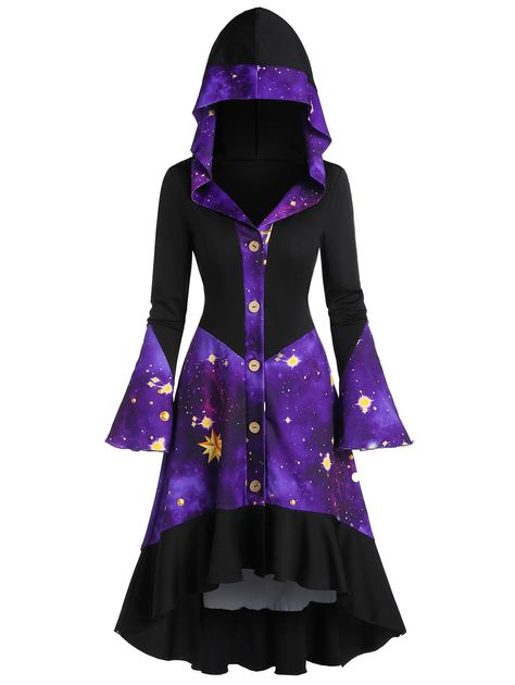 Galaxy Print Flare Sleeve Hooded Button Up High Low Coat Cute Prom Dresses, Pretty Dresses, Dress Outfits, Cool Outfits, Fashion Outfits, Gothic Fashion, Galaxy Outfit, Galaxy Fashion, Black Milk Clothing