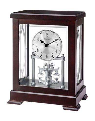 Bulova Empire Wood Embossed Handle Mantel Clock Anniversary Clock Clock Bulova Clock