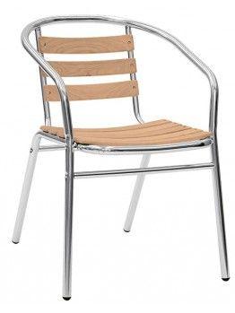 Sedie In Alluminio E Legno.Evol In Alluminio E Legno Sedia Con Braccioli Impilabile Per Bar