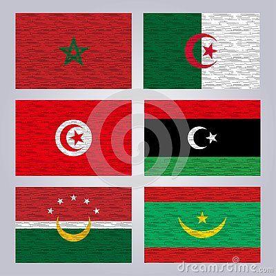 Flags Of The Member States Of The Arab Maghreb Union Morocco Algeria Tunisia Libya Mauritania Vector Morocco Logo Flag Algeria Tunisia Vector Libya Africa