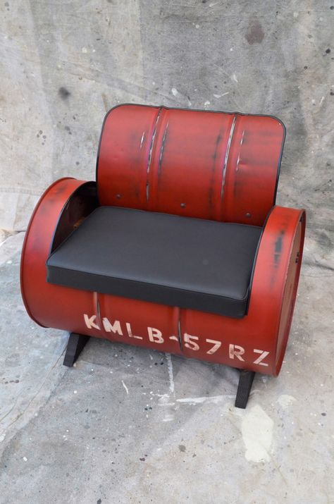 Industrial Furniture Barrel Chair Distressed Red Vinyl padded seat