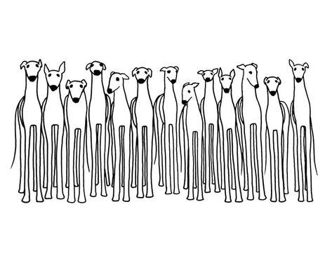 DIGITAL DOWNLOAD + LICENSE - Printable Greyhound Art, Greyhound Download, Black and White Greyhound, Greyhound Drawing, Greyhound Adoption