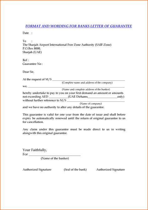 date letter format event planning template and wording for banks - guarantee letter