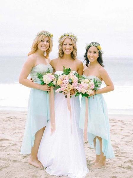 Popular Light Blue Sweet Heart High Low Short Bridesmaid Dresses