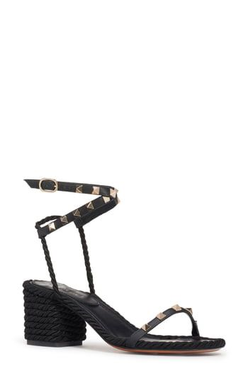 Amazing Offer On Valentino Rockstud Rope Sandal Women Online Toplikeclothes In 2020 Valentino Rockstud Rope Sandals Strappy Block Heels