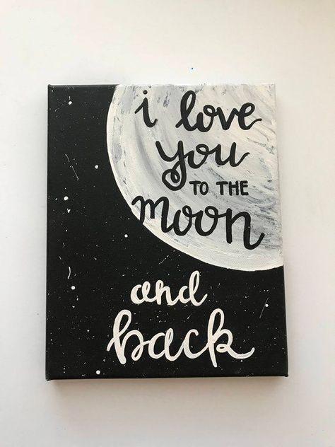 Ich liebe dich bis zum Mond und zurück handbeschriftete, handbemalte Schilder, Wandkunst, Liebesdekor, Weihnachten gi -   #
