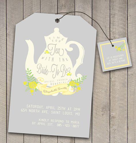 DIY Printable Vintage Tea Party Bridal Shower Invitation and Registry card -wedding teabag teapot design - Tea with the Bride to be