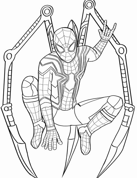 Coloring Pages Of A Avengers Iron Spiderman Suit For Kids In 2020 Spider Coloring Page Avengers Coloring Pages Avengers Coloring