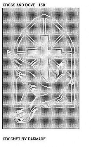 #150 Cross Dove Filet Crochet Doily Afghan Bedspread Pattern