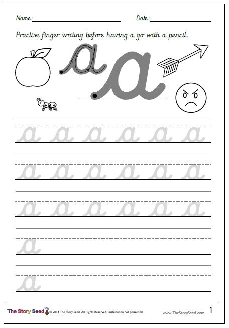 4 Handwriting sheets and finger writing book for lower case ...