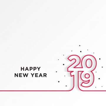Happy New Year 2019 Card Theme Line Red On White Gradient Background Brush Effect Png And Vector Happy New Year Text Happy New Year Background New Year Text