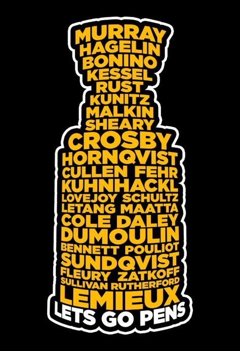 The 2016 Stanley Cup Pittsburgh Penguin roster of champs ♥