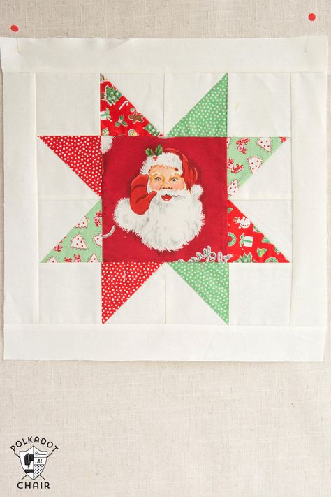 Christmas quilt, star quilt, Santa quilt, red and green quilt; The November Quilt Block of the Month, a variation of a simple sawtooth star quilt block. Join in the block of the month series and make a quilt one month at a time. Christmas Blocks, Christmas Quilt Patterns, Star Quilt Patterns, Christmas Sewing, Pattern Blocks, Canvas Patterns, Christmas Quilting Projects, Christmas Patchwork, Christmas Cushions
