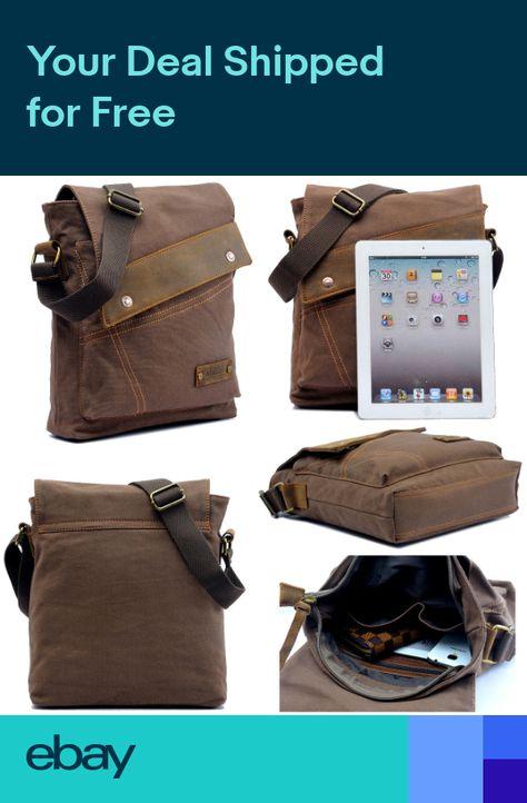 Mens Vintage Canvas Leather Satchel School Shoulder Bag Military Messenger  Bag 5694566ac1