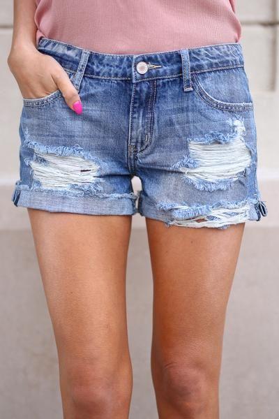 83210fe30479 Beach Bum Denim Shorts - Medium Wash distressed denim shorts, front, Closet  Candy Boutique