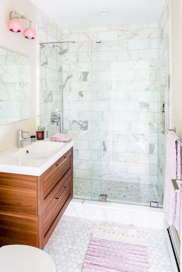 Double Loa Sconce With Blush Pink Shades Feminine Bathroom Modern Bathroom Renovations Modern Marble Bathroom