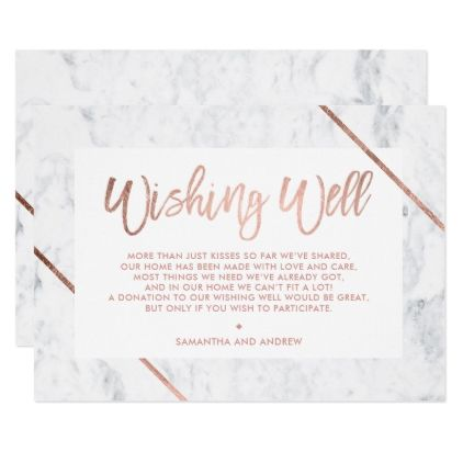 Rose Gold Typography Stripes Marble Wishing Well Enclosure Card