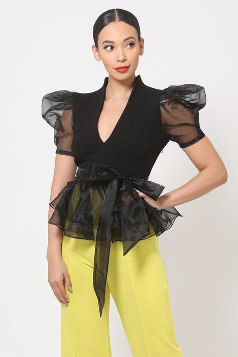 Organza Puff Short Sleeve Fashion Top - Black / S