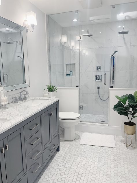 White and Gray bathroom with furniture style vanity, marble countertop, hexagon marble floors, Delta Faucets. White Master Bathroom, Master Bathroom Shower, Bathroom Renos, Gray And White Bathroom Ideas, Small Master Bathroom Ideas, Small Bathroom Designs, Master Bathrooms, Dream Bathrooms, Gray Shower Tile