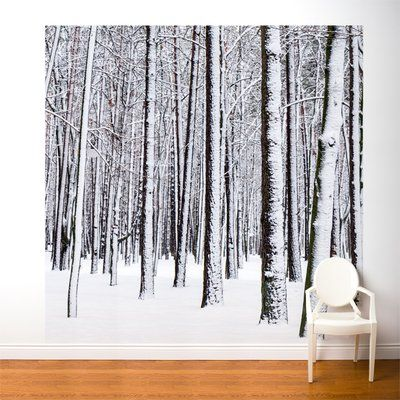 AdzifWhite Forest Wall Mural Multicolored