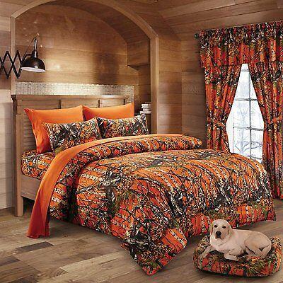 12 Pc Set Orange Camo Comforter Blaze, Orange Camo Queen Bedding