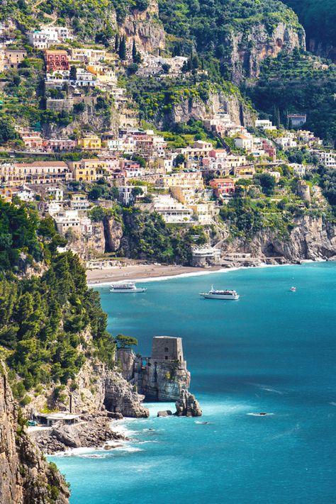 italian-luxury:    Una vista di Positano dalla Costiera Amalfitana byMassimiliano Teodori