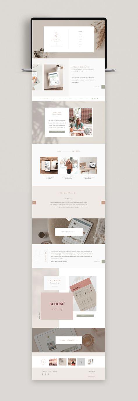 Neutral, vintage website design. Amarie Lael Design. Design inspiration and ideas.