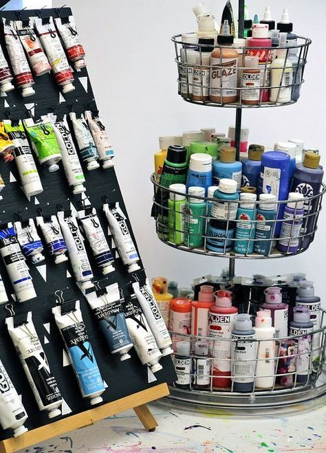 Store & Organize Art Supplies: 6 Ways to Store Paint Tubes and Bottles - art supplies storage and organization - Art Supplies Storage, Craft Room Storage, Organizing Art Supplies, Craft Rooms, Paint Supplies, Paper Storage, My Art Studio, Painting Studio, Studio Ideas