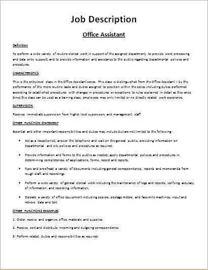 Job Description Form Sample DOWNLOAD at    wwwbizworksheets - property management job description