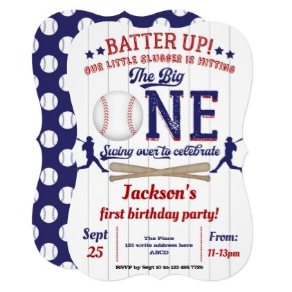 Little Slugger Baseball Boy First Birthday Invitation Zazzle Com Baseball First Birthday First Birthday Party Themes First Birthdays